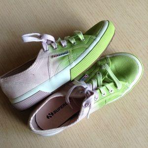 SUPERGA ombré cotu pink green sneakers 37 6.5 (F9)
